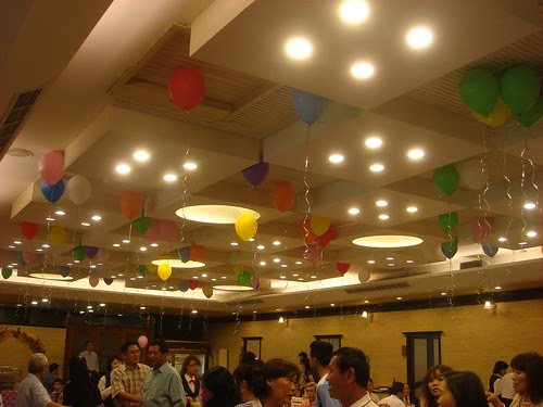 a festive wedding banquet room