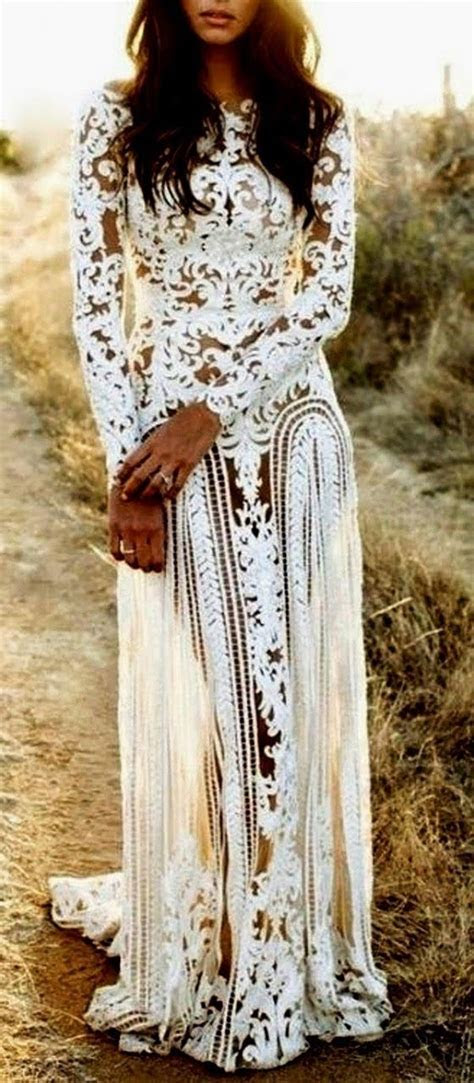 Bohemian Style White Lace Dress Pictures, Photos, and