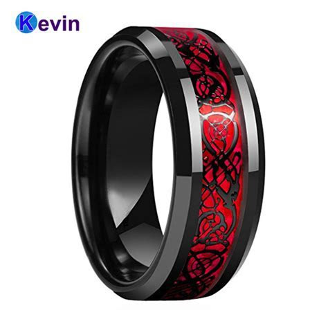 Black Mens Wedding Ring Dragon Ring Tungsten Carbide Ring