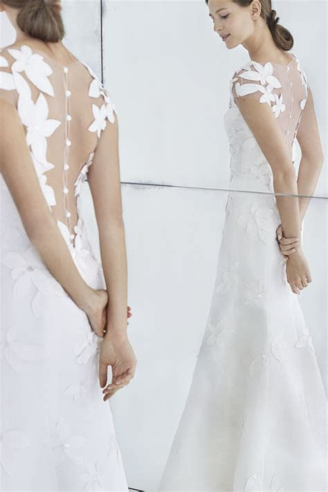 Carolina Herrera Illusion Back Floral A Line Wedding Dress