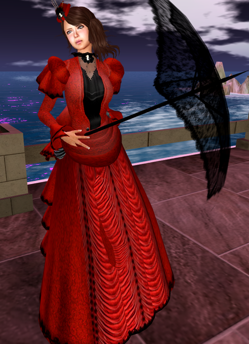 *RD* Red Victorian Day Gown