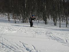 Practising to ski down hill