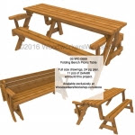 Folding Bench Picnic Table Woodworking Plan with Full Size Templates  - fee plans from WoodworkersWorkshop® Online Store - folding bench picnic tables,wooden furniture,yard art,painting wood crafts,scrollsawing patterns,drawings,plywood,plywoodworking plans,woodworkers projects,workshop blueprints