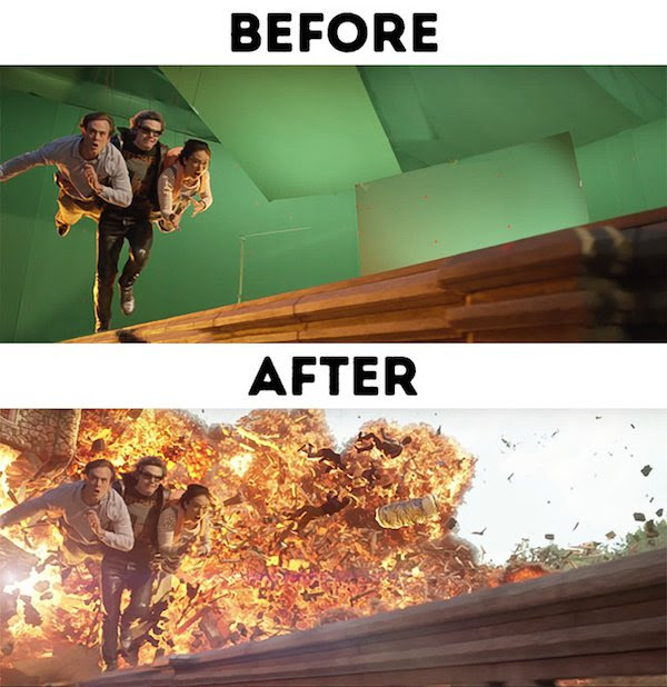 16 - 30 before and after special effects scenes