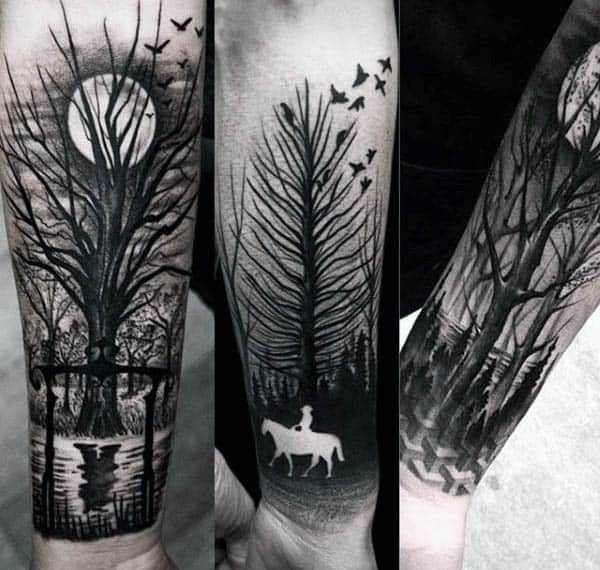 60 Negative Space Tattoo Designs For Men Manly Ink Ideas