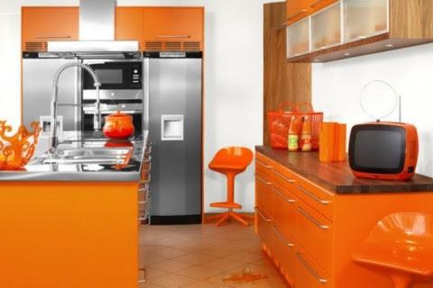 Modernas y sofisticadas cocinas en color naranja-14