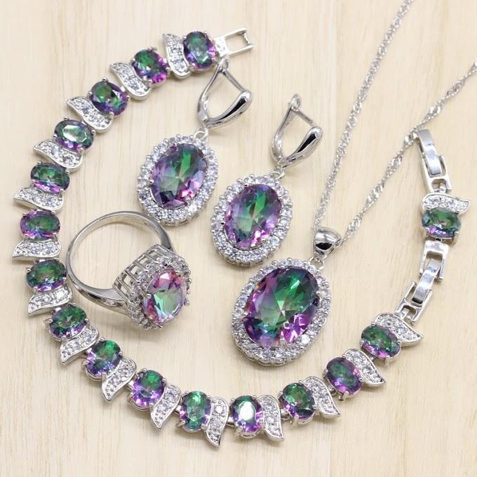 Mystic Rainbow Zircon 925 Silver Costume Bridal Jewelry  Women Earrings Rings Pendant Necklace Bracelets Set Gift Box