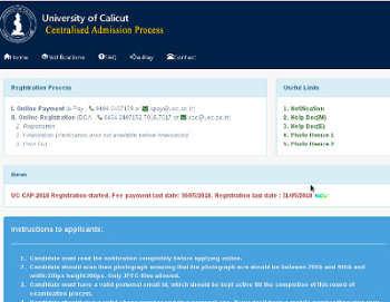 Calicut University Degree Admission 2019 Ugcap