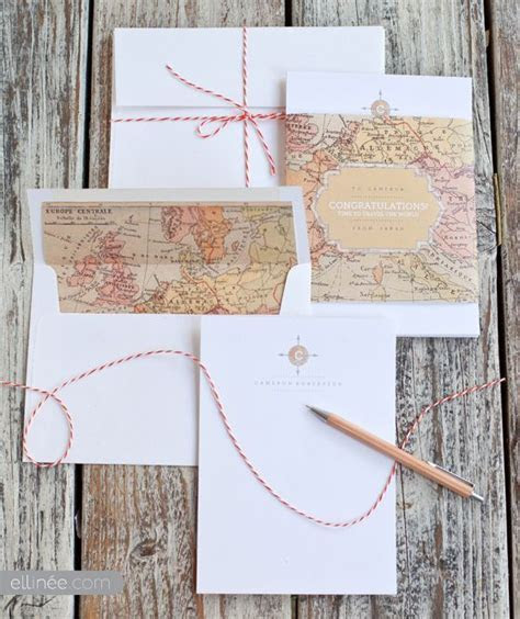 DIY Vintage Map Monogram Note Card Set   DIY   Pinterest