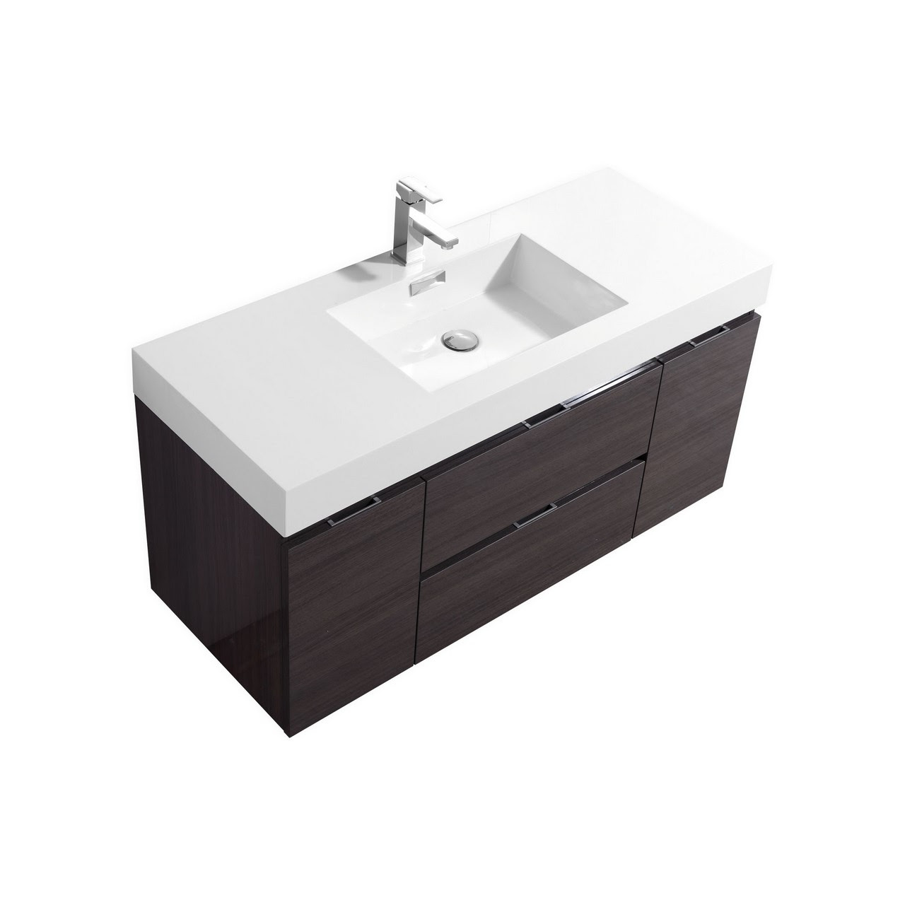 Bliss 48 High Gloss Gray Oak Wall Mount Single Sink Vanity
