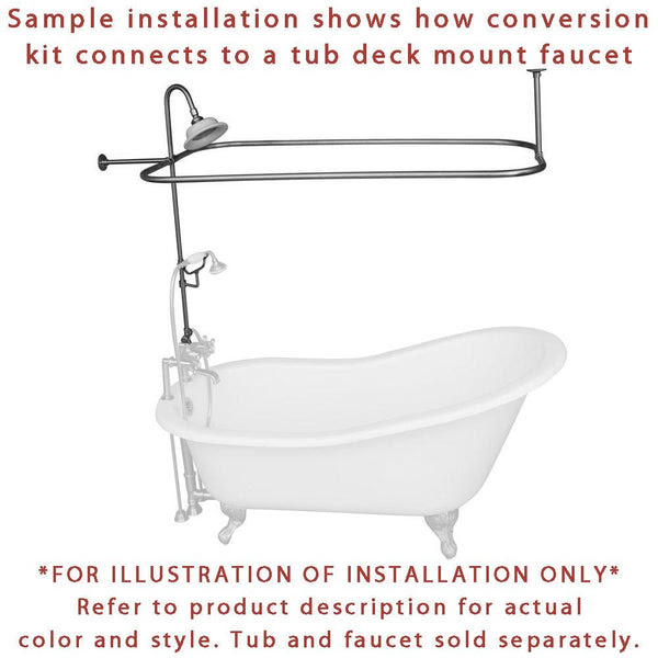 Chrome Clawfoot Tub Shower Conversion Kit With Enclosure Curtain Rod