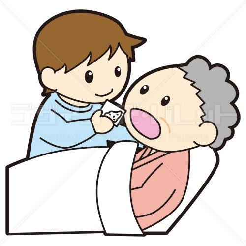 男性看護師とベッド患者の薬介助 イラパレロイヤリティフリーの