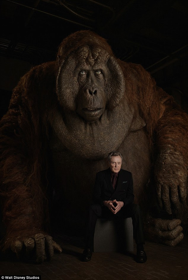 'Formidable' A massive ape dominated the frame in Christopher Walken's shot, as he voices the character of King Louie, who is '12 feet tall' and 'as charming as he is intimidating when he wants to be'