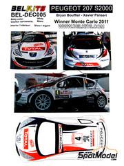 Belkits: Calcas escala 1/24 - Peugeot 207 S2000 Total Nº 4 - Bryan Bouffier (FR) + Xavier Panseri (FR) - Rally de Montecarlo 2011 - para kit de Belkits BEL-001