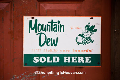 Advertising for Mountain Dew on Door of General Store, Piatt County, Illinois