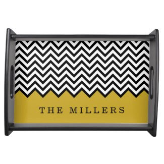 Black and Gold Chevron Custom Monogram Serving Tray