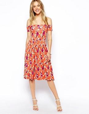 Image 1 ofASOS Midi Bardot Skater Dress in Floral Print