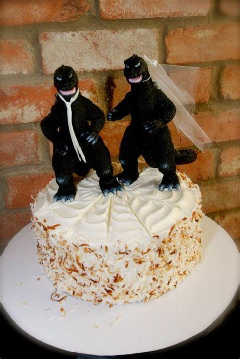 Godzilla Cake Topper   Now that we're engaged, I guess it