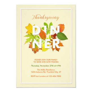 Elegant Leaves Thanksgiving Dinner Invitation