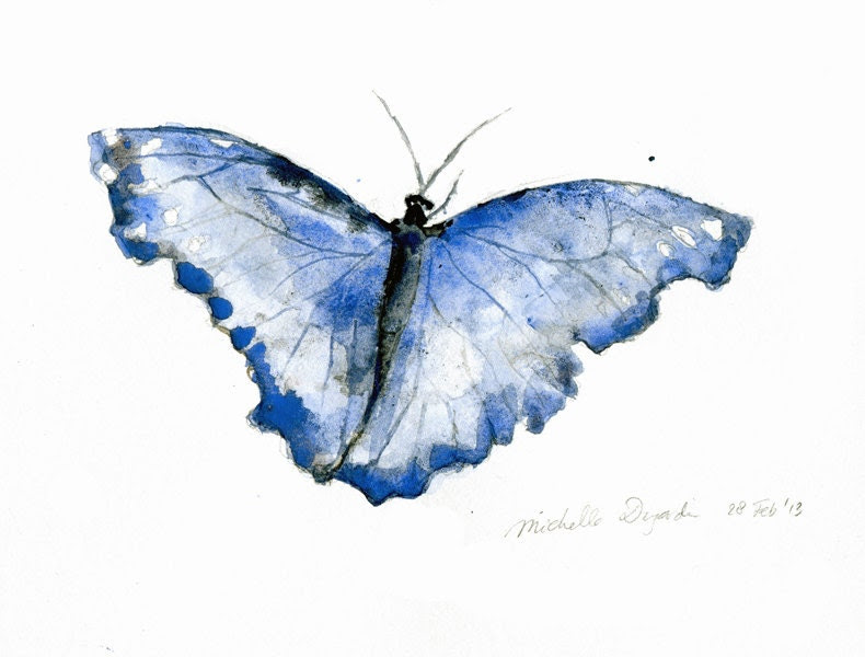 Original watercolor painting of a Blue morphe butterfly. Zen drawing and paint on paper. Animal painting.  Drawing by Michelle Dujardin - Zendrawing