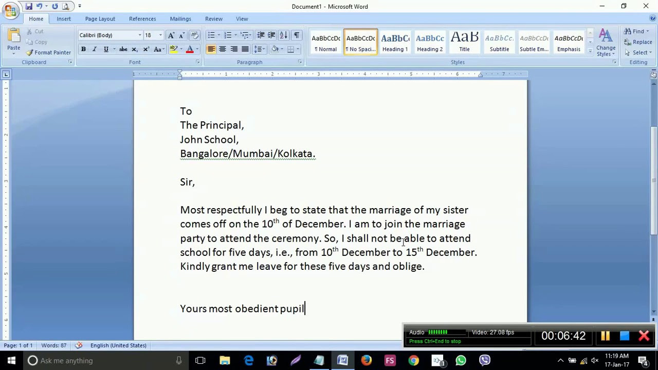 How To Write An Application To The Principal To Grant