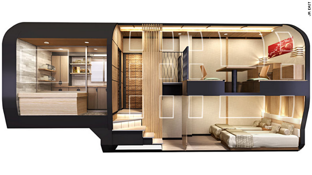 All suites will have a private bathroom with a shower and toilet but the top sleeping space is the deluxe suite. On the bottom are two beds, on the top a traditional Japanese dining area.