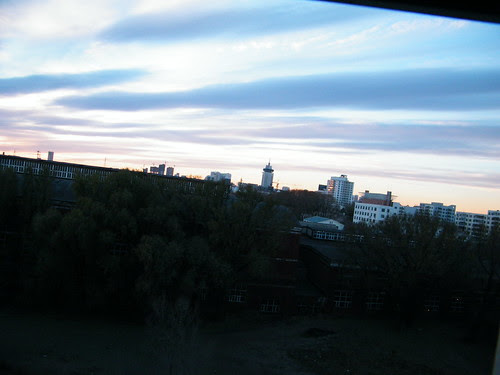 baby's works: colorful early winter sky above Qiqihar