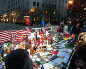 A memorial on Boston's Boylston Street honors the memory of those who were killed and injured in the April 15 marathon bombings. (Lutheran Church Charities)