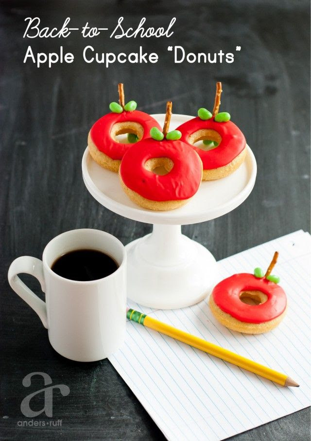 Back to school treats - A Cupcake shaped like a donut that is an apple!  Add a gummy worm for even more cuteness!