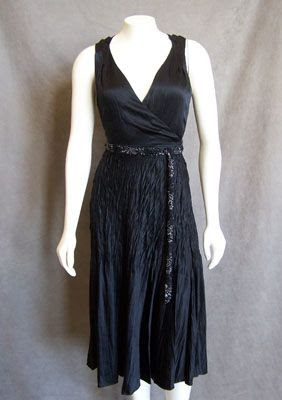 Elie Tahari Black Beaded Faux-Wrap Dress