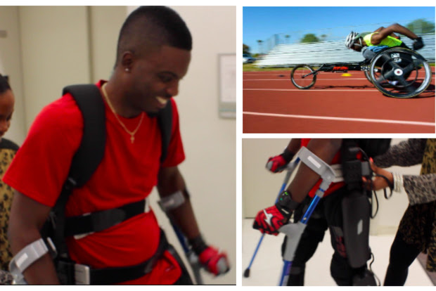 RJ Anderson Jr. tests out his exoskeleton at the Rehabilitaiton Institute of Chicago.