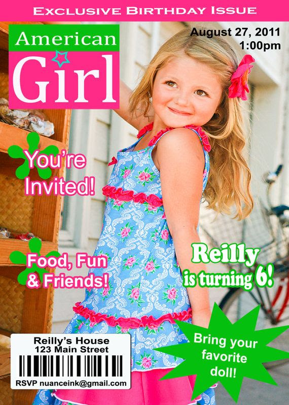 Adorable invitation for an American Girl birthday party