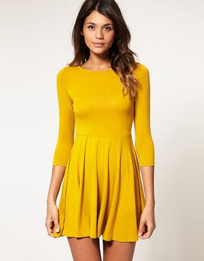 Image 1 of ASOS Dress with Pleated Skater Skirt