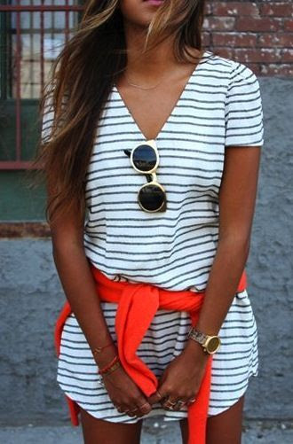 love everything about this. Striped beach dress, red sweater