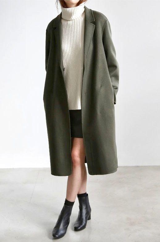 Le Fashion Blog Longline Coat White Turtleneck Short Skirt Black Ankle Boots Via Flat 80