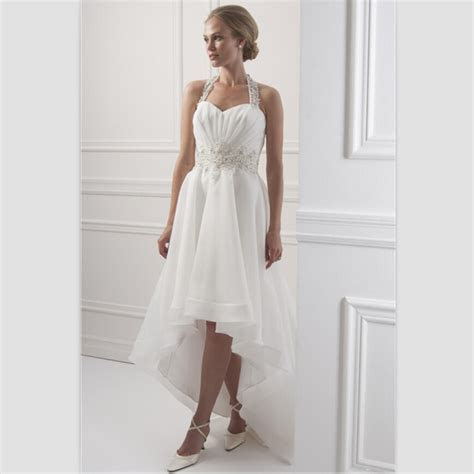 White Chiffon Beach Wedding Dress Short Front Long Back