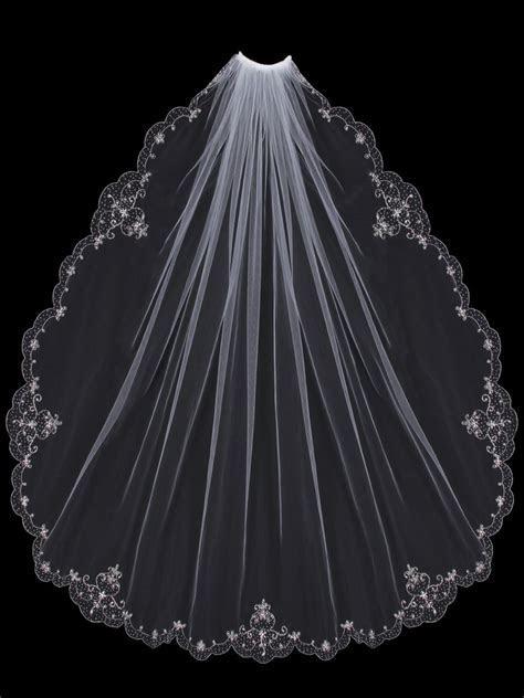 Beaded Embroidery Fingertip Length Wedding Veil V502SF