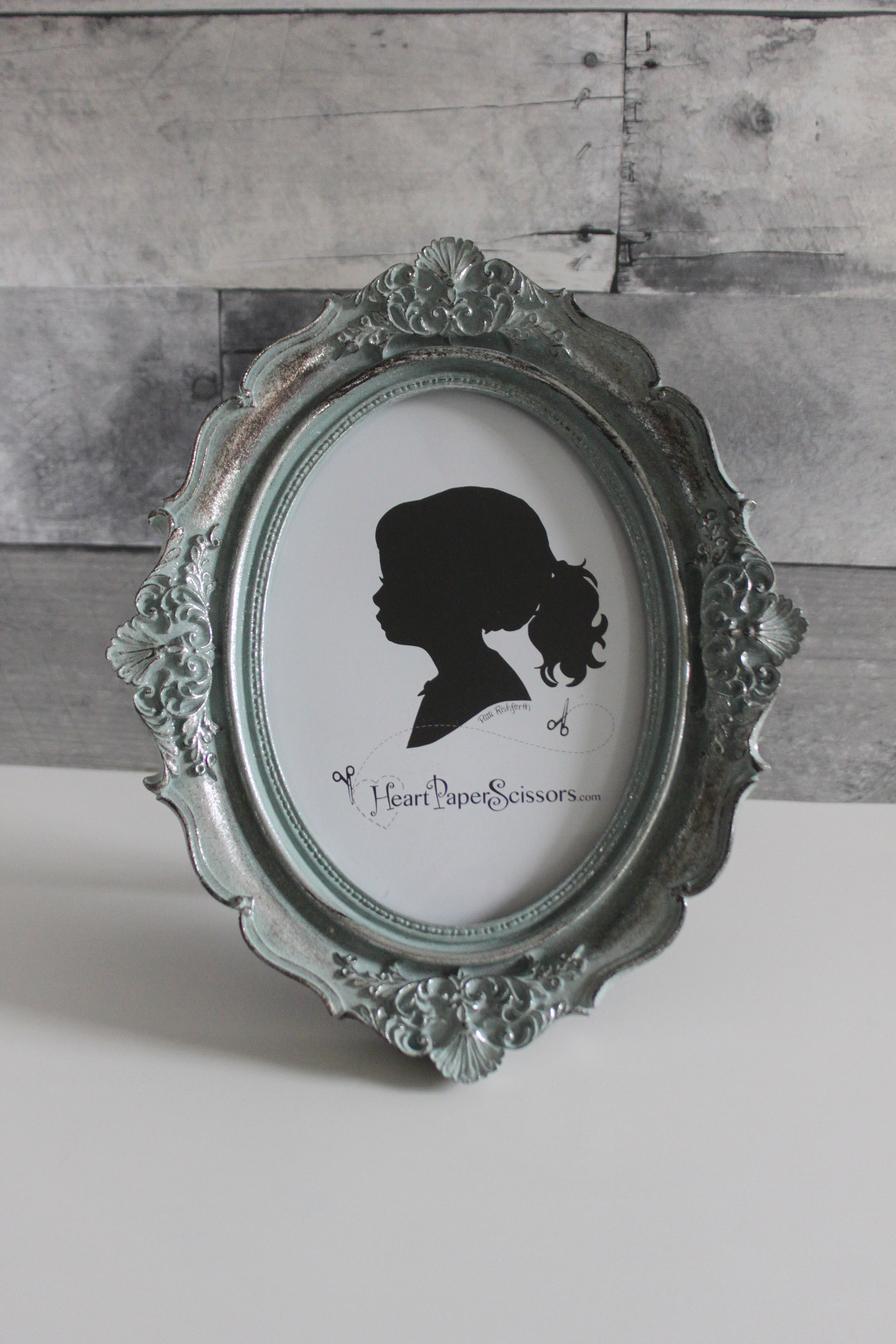 French Blue Patina Oval Silhouette Similar Frame 57 Copy