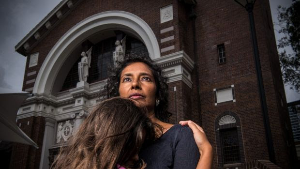 """Rox Subramany, with her 10-year-old daughter: """"I felt unsafe. I thought I was going to be physically attacked."""""""