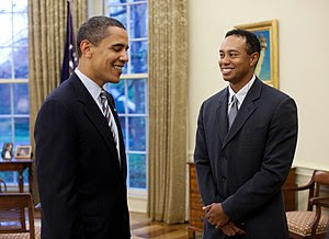 President Barack Obama greets professional gol...