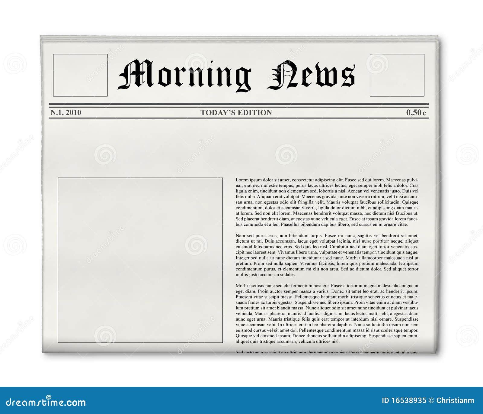 Newspaper Headline And Photo Template Royalty Free Stock Photo ...