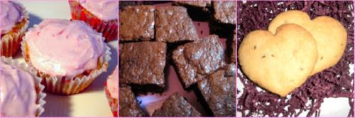 cupcakes, brownies and shortbread cookies