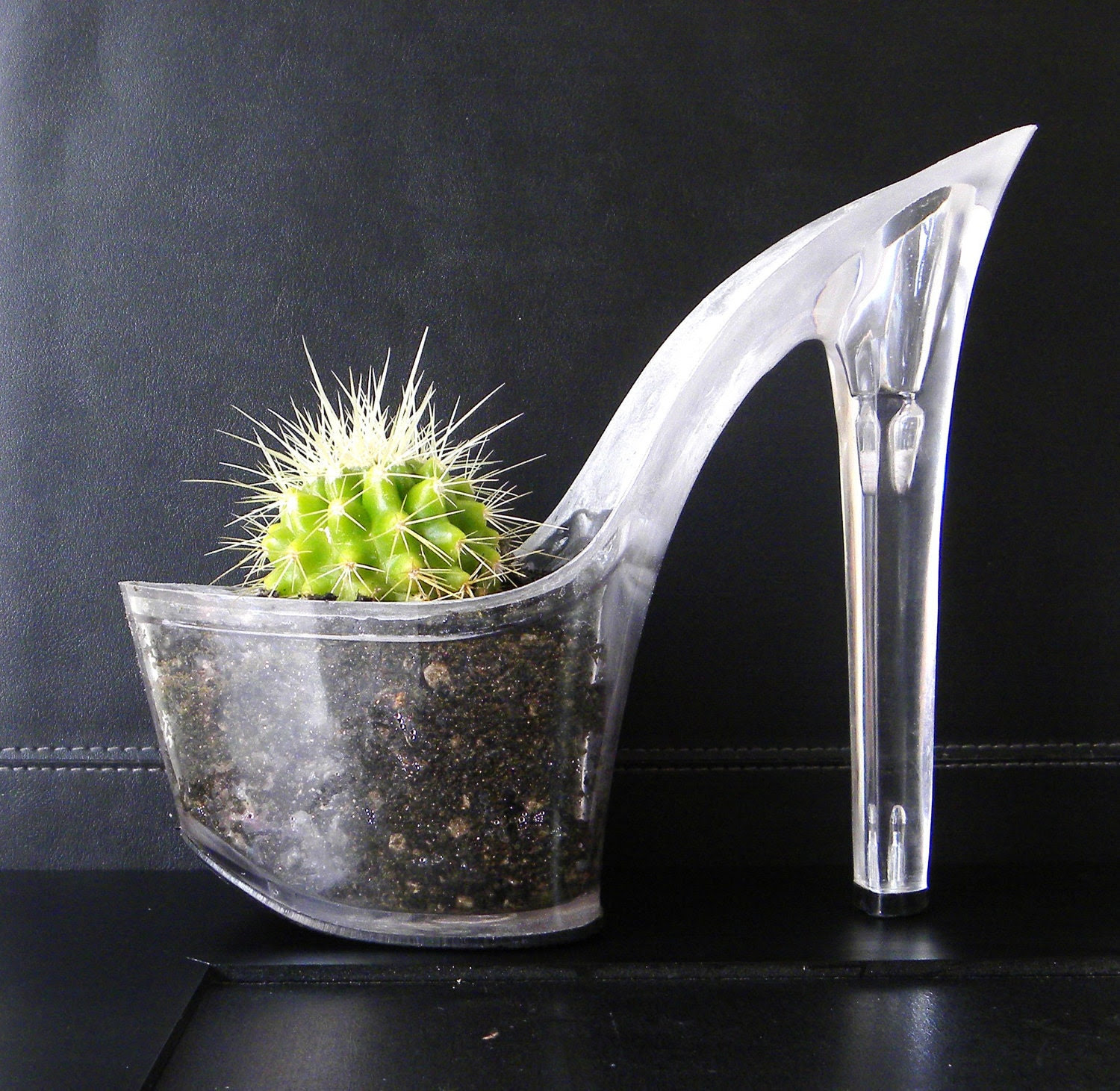 Trick. stiletto cactus planter reclaimed lucite platform heel. feminist art. centerpiece. eco friendly indoor garden