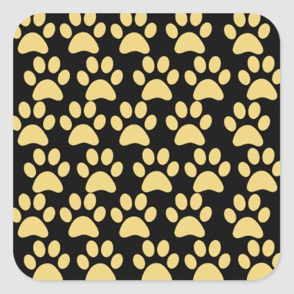 Cute Puppy Dog Paw Prints Tan Black Stickers