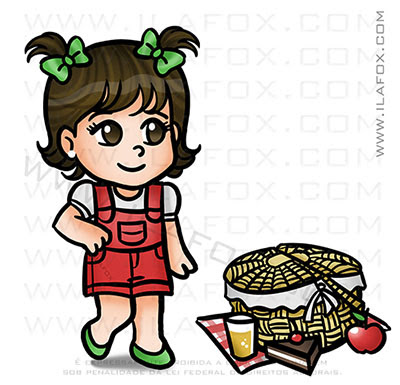 caricatura fofinha, caricatura picnic, caricatura infantil