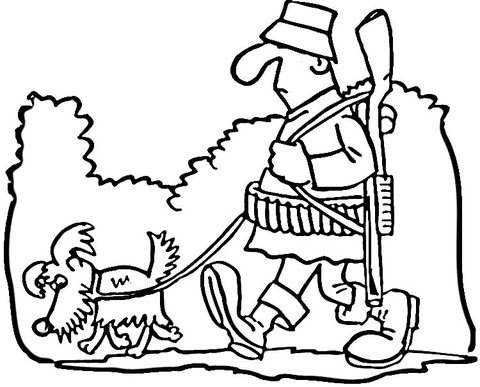 Dibujo De Cazador Y Perro Para Colorear Dibujos Para Colorear