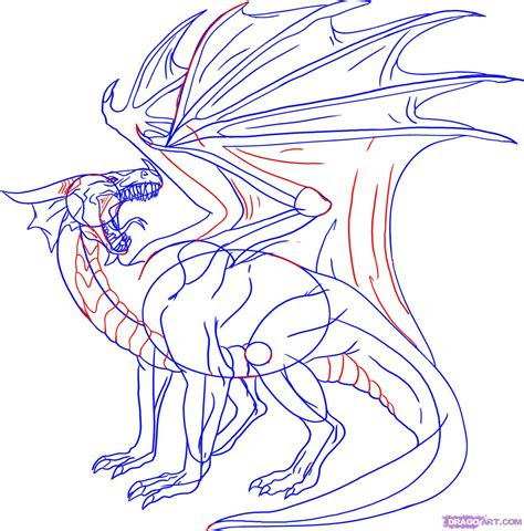 draw  red dragon step  step dragons draw