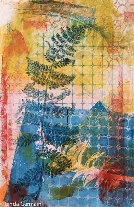 multi colored gelatin monotype print