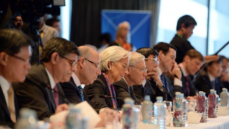 Au centre, Christine Lagarde, directrice générale du FMI, ce vendredi à Sydney, pour la réunion du G20.