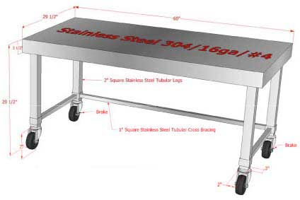 Customized Stainless Steel Work Prep Tables